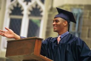 Young man giving graduation speech - Comstock/Stockbyte/Getty Images