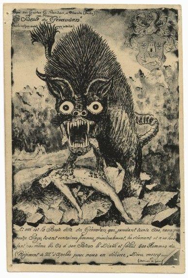 The Beast of Gevaudan, werewolf illustration, France ca.1414. Looks a little like Aku from Samurai Jack.