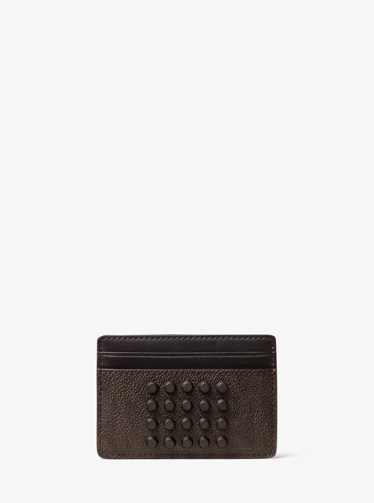 MICHAEL KORS Jet Set Studded Logo Card Case. #michaelkors #bags #lining #canvas #polyester #cotton #