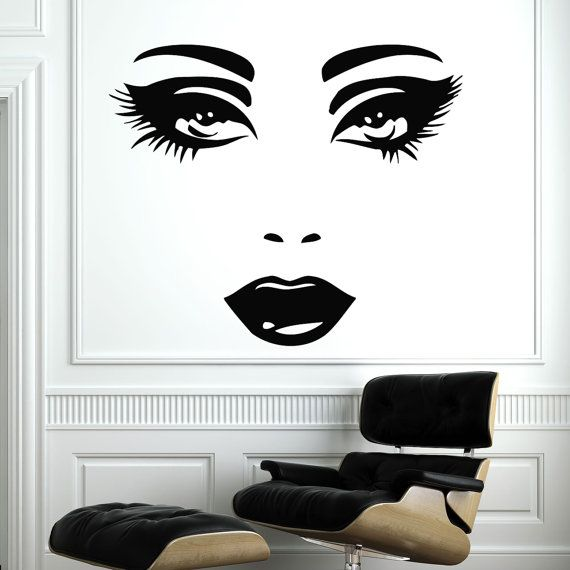 Makeup Wall Decal Vinyl Sticker Decals Home Decor Mural Make Up Girl Eyes Woman Fashion Cosmetic Hairdressing Hair Beauty Salon Deco