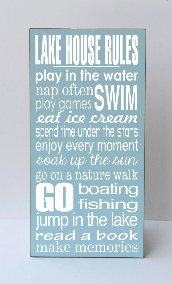 Lake House Wood Sign Wall Art Lakehouse Decor Rules For Farmhouse Rustic Cottage