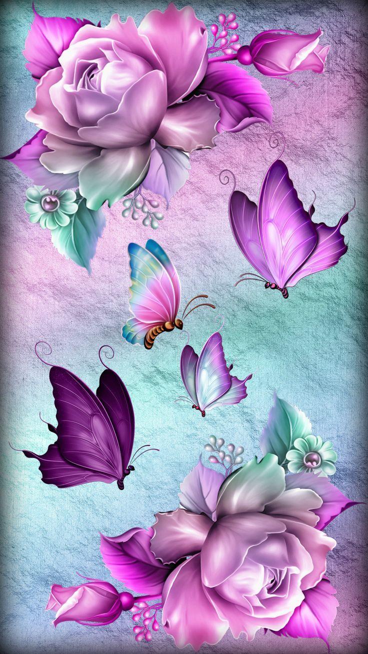 Roses Butterflies Flower Phone Wallpaper Butterfly Wallpaper Backgrounds Butterfly Artwork