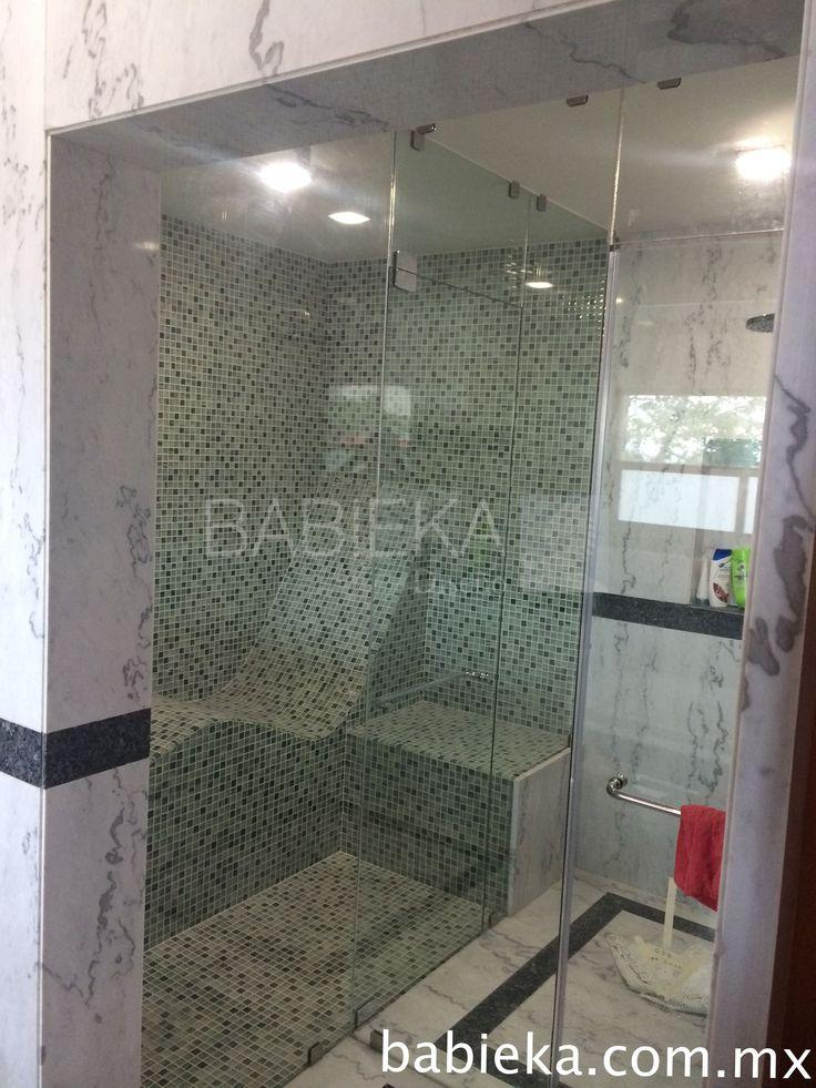 Cancel de Baño para vapor con cristal templado y acero inoxidable. www.babieka.com.mx