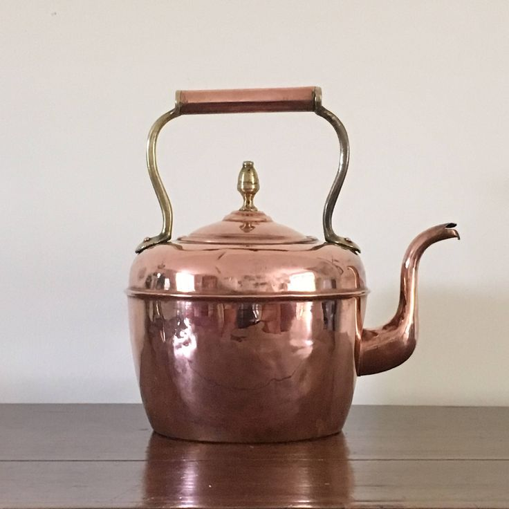 Antique French Copper Kettle, French Farmhouse Kettle,  Collectible, Circa 1910, French Home Decor by Papillonpieces on Etsy