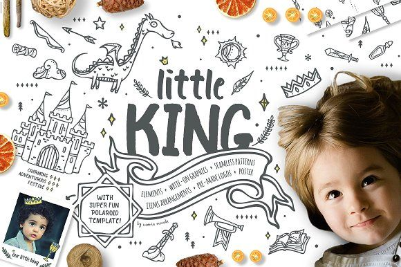 Little King - Fantastic Graphic Set by Euonia Meraki on @creativemarket  Boy oh boy! With 319 items, this lovable set prefectly designed to help you create logos, invitations, cards, party printable, branding, packagings, kids school, nursery, daycare decor and so much more.   stay tuned for early bird discount of this graphic pack!