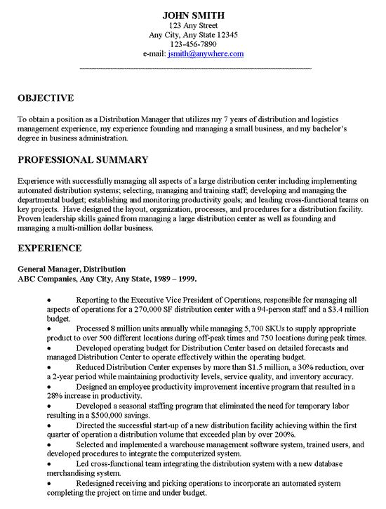 Distribution Manager Executive Resume Examples Pinterest