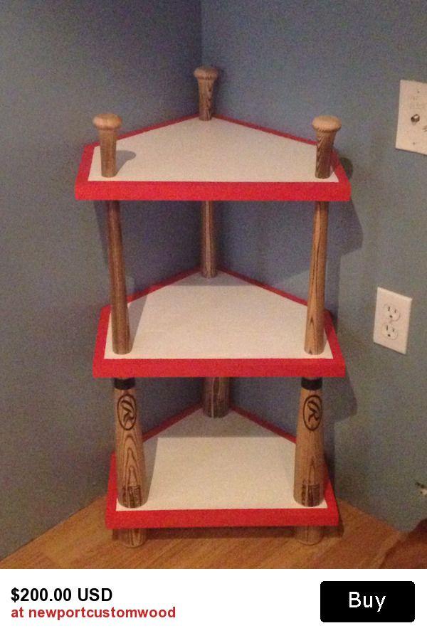 Baseball Bat Home Plate Corner Stand Themed Room Decor Night End Table Man Cave Wood Work Nursery Themes