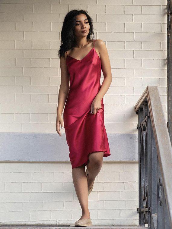 05ff6e73ab5 Silk bias slip dress pink Silk dresses for women Silk bias date ...