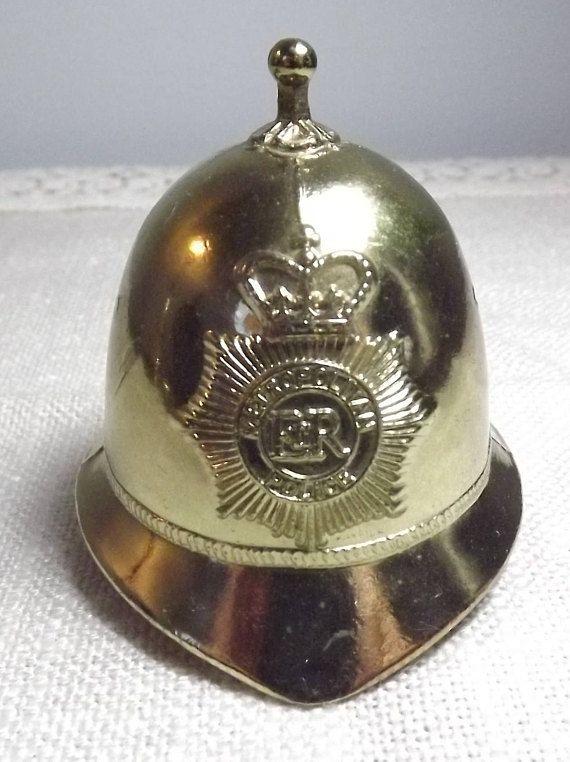 Vintage Bobby Bell ER Metropolitan Police Helmet  Gold Tone