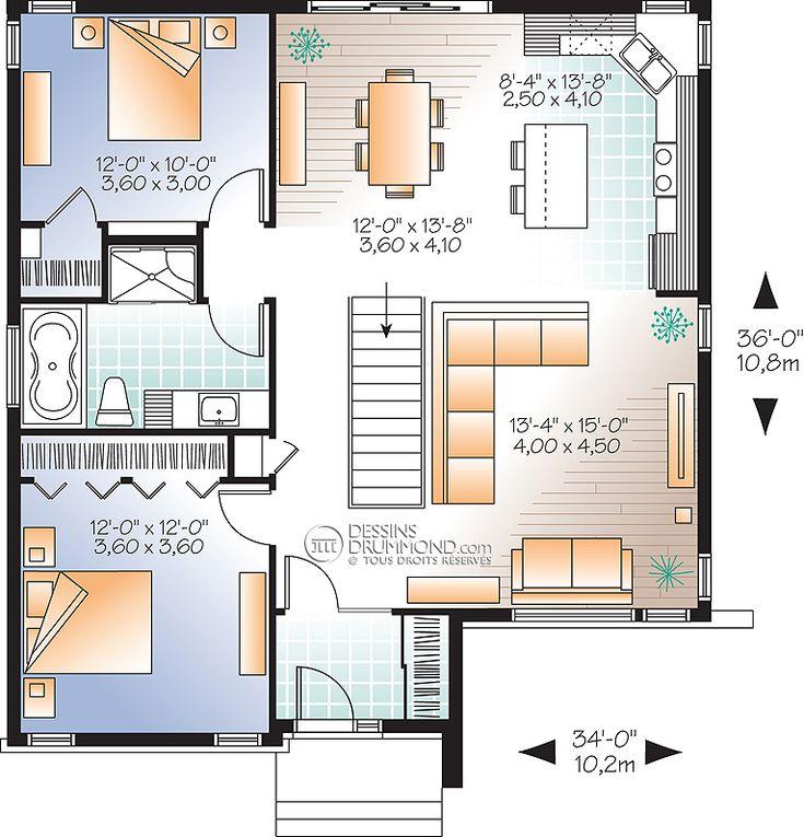 17 best Maison images on Pinterest Homes, Open floor plans and - plan maison demi sous sol