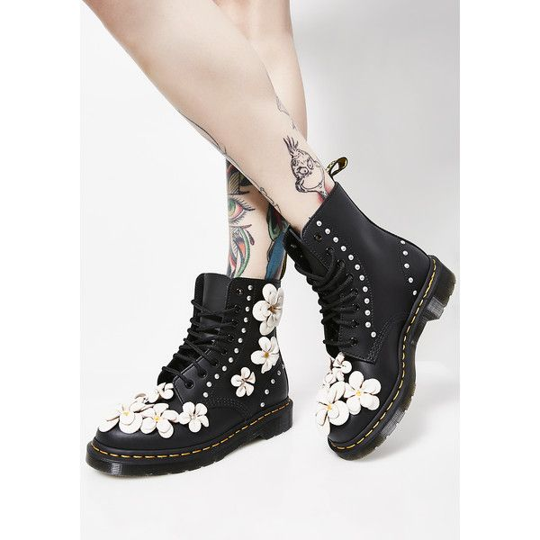 Dr. Martens 1460 Pascal Flower Boots ($170) ❤ liked on Polyvore featuring shoes, boots, black, military boots, lace up combat boots, leather boots, leather military boots and combat boots