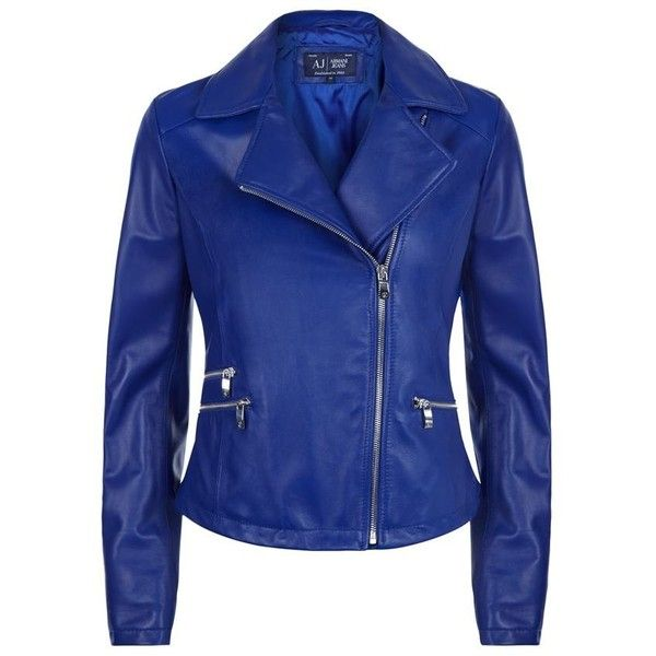 Armani Jeans Leather Biker Jacket ($830) ❤ liked on Polyvore featuring outerwear, jackets, blue leather jacket, pocket jacket, leather jacket, blue motorcycle jacket and blue jackets