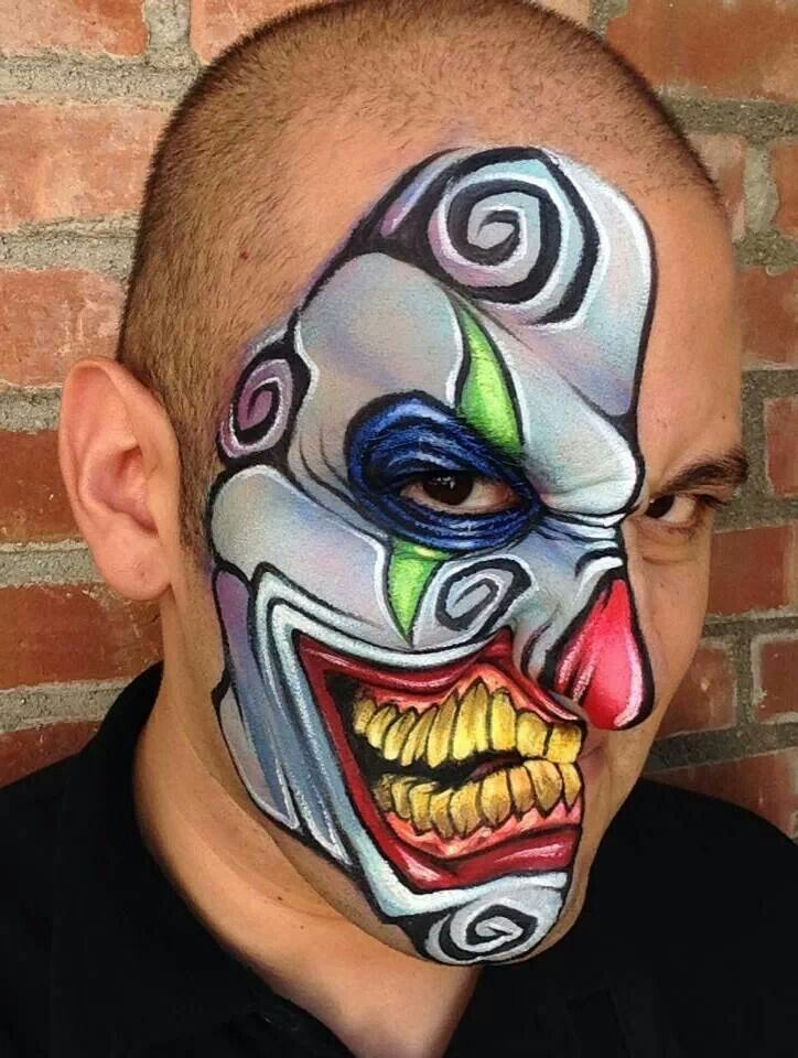 awesome face painting ~ crazy clown