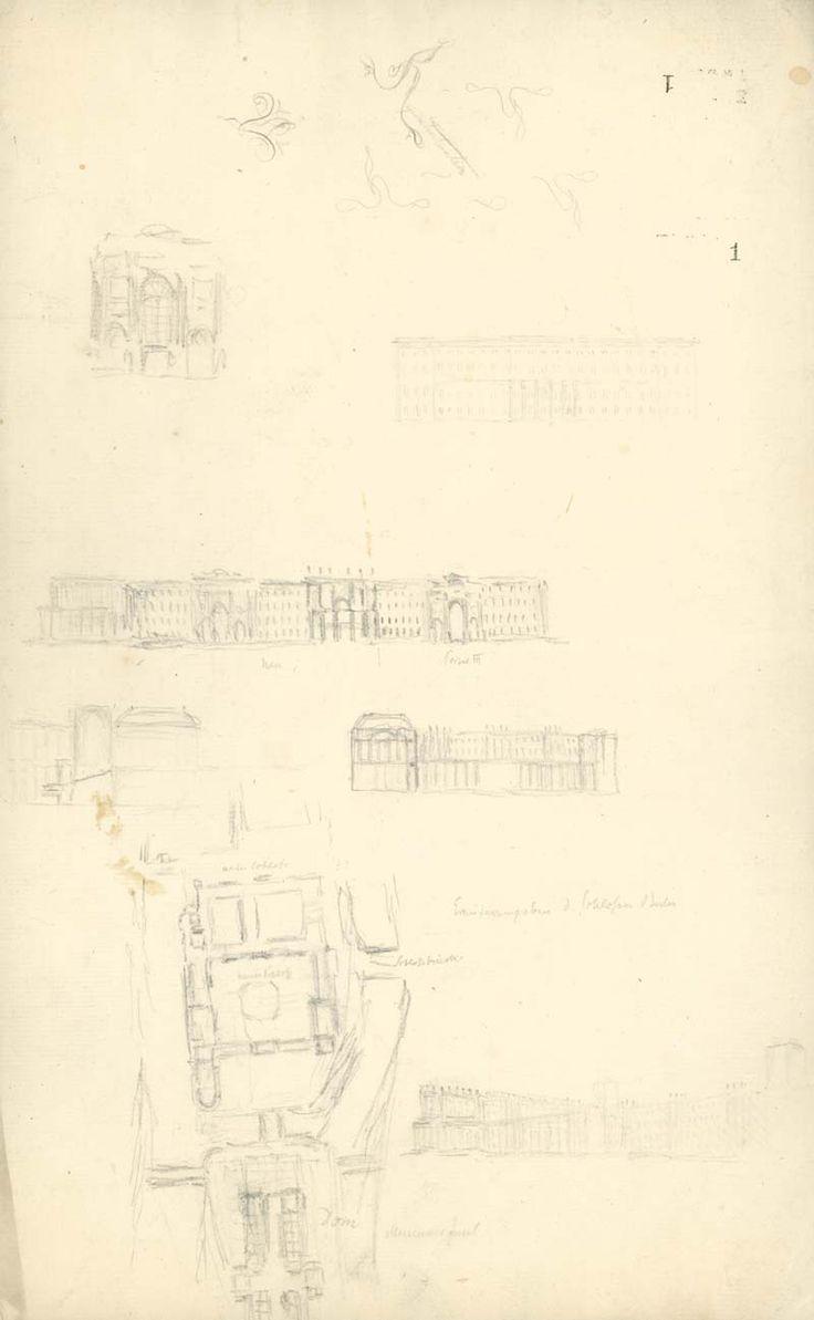 zeitenblicke - Abbildung 1 Abb. 1: Friedrich Wilhelm (IV.), Ideenskizzen zur Erweiterung des Berliner Schlosses, um 1815, Bleistift (SPSG, Handzeichnungen Friedrich Wilhelms IV., I-1-B-6)