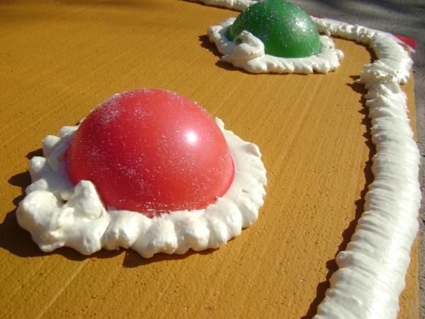 Gingerbread House : Clear Round Bowl, With The Inside Painted. Held On With  Expanding