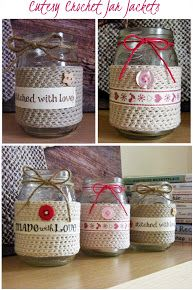 Crochet Jar Jackets/ Great gift idea with candles inside!!