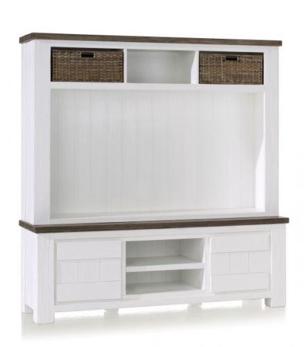Tv dressoir met opzet kast. De kast heeft een breedte van 160cm. Door de 2 niches is er nog genoeg ruimte voor alle apparatuur. bekijk onze webshop voor het volledige aanbod landelijke meubelen. www.happy-home.nl