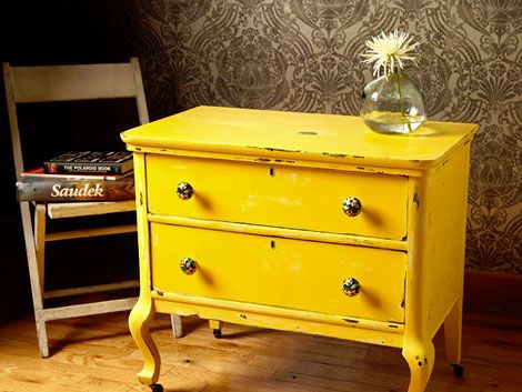 yellow dresser: Paintings Furniture, Yellow Dressers, Distressed Furniture, Yellow Furniture, White Bedrooms, Bedside Tables, Night Stands, Furniture Ideas, Bright Yellow