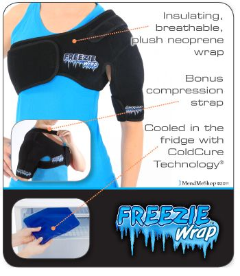 The Shoulder Freezie Wrap treats pain, swelling and inflammation caused by rotator cuff tendonitis while reducing tissue damage.