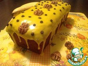 Банановый кекс с шоколадом и орехами