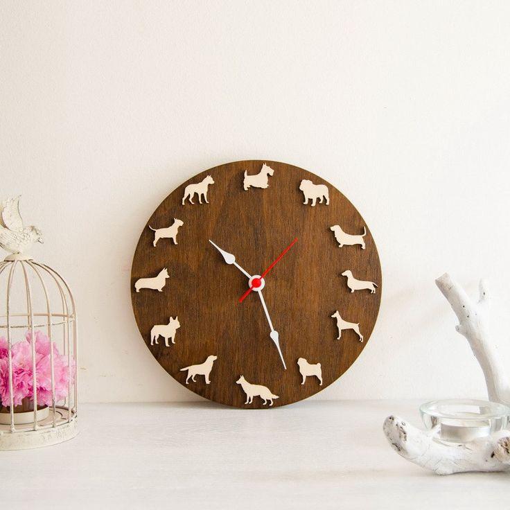 Dog clock with different breeds Scottish terrier, English bulldog, French bulldog, German Shepherd, Corgi, Pug, Pitbull, Labrador, Doberman, Dachshund, Beagle, Basset