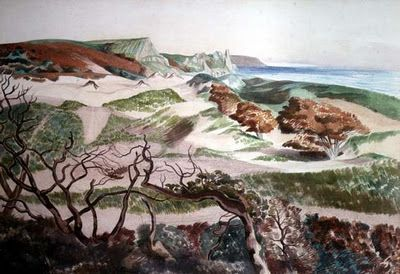 'Sand Dunes and Rocky Coast' by English artist John Nash (1893-1977). via First Known when Lost