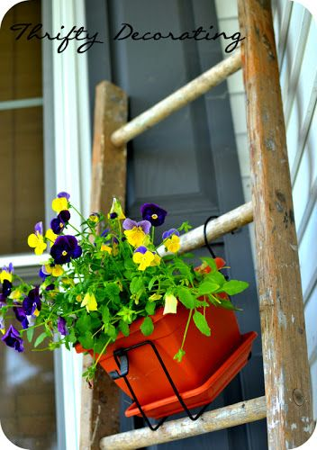 Thrifty Decorating: An old ladder plant holder....
