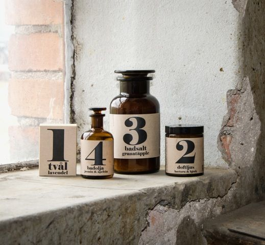 Swedish bathroom accessories available from Concreate - bath salts, candles