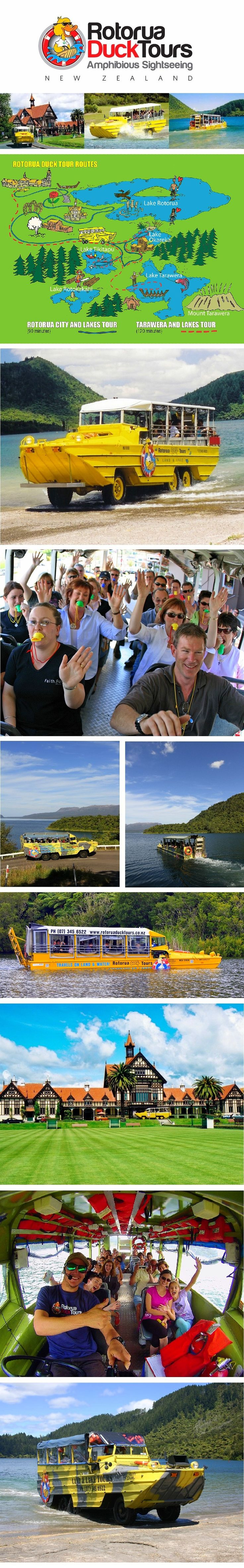 Rotorua Duck Tours - The unique 90 minute sightseeing adventure takes place on land and water, on-board our WWII amphibious Duck. Unlike any other tour in Rotorua, the duck tour is the best way to see the city and experience the beauty of the surrounding lake district all at once. Our Duck Tours begin right in the heart of the city where you will discover the sights and sounds, and learn all about the rich history and diversity that makes Rotorua such a unique destination.