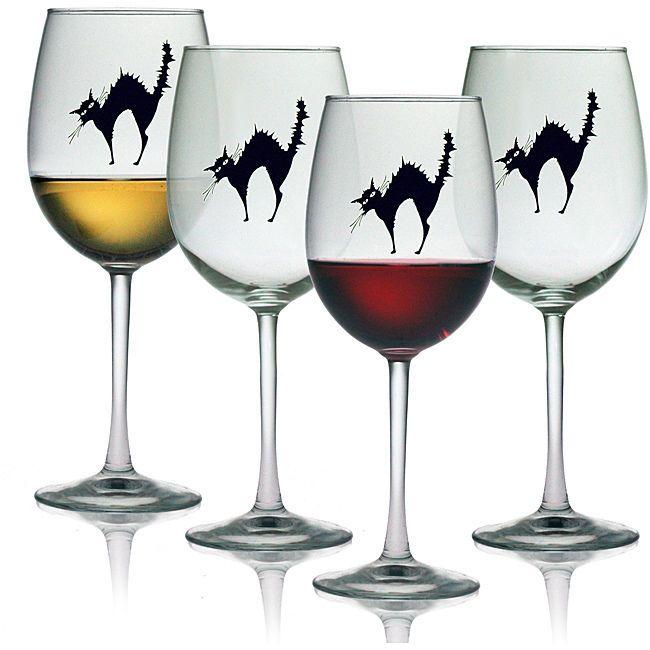 Clear Black Cat 19-oz White Or Red Wine Glasses Halloween Seasonal Set of 4 New  #SusquehannaGlass