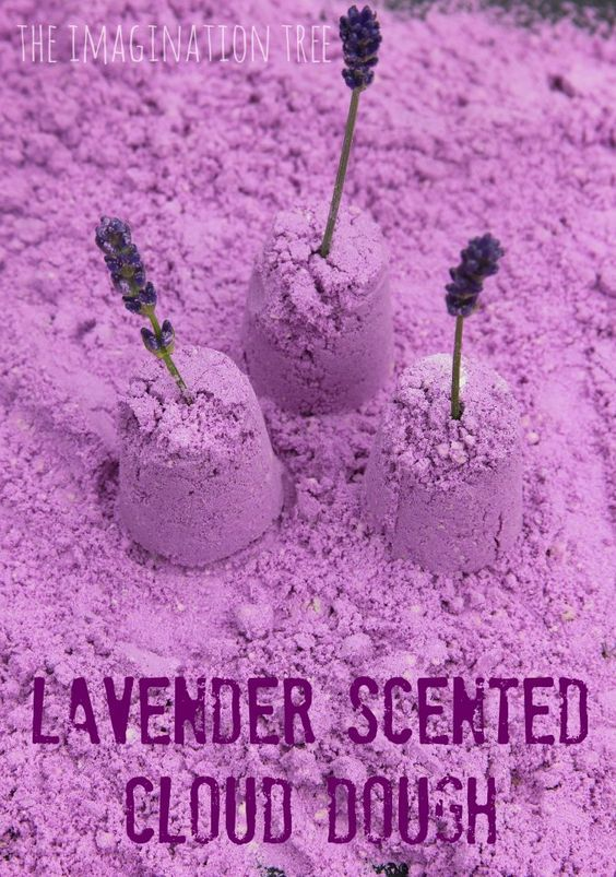 Lavender scented cloud dough recipe for calming sensory play