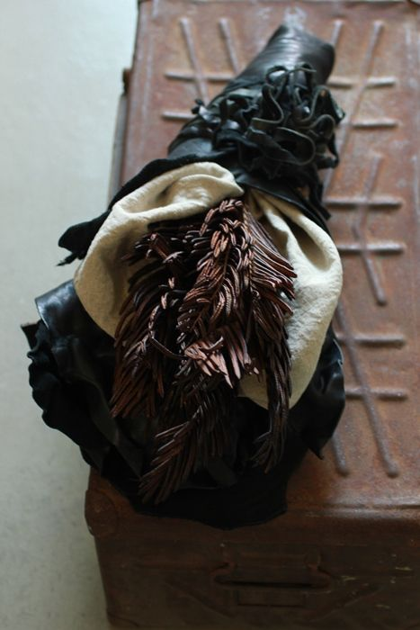 Leather Wrapped Bouquet - Dried Fern