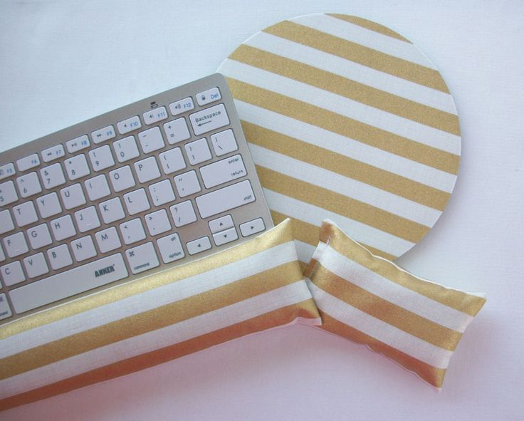 Mouse PAD - Mat - MousePad - wrist and keyboard rest set - gold stripes #handmade  chic / cute / preppy / computer, desk accessories / cubical, office, home decor / co-worker, student gift / patterned design / match with coasters, wrist rests / computers and peripherals / feminine touches for the office / desk decor