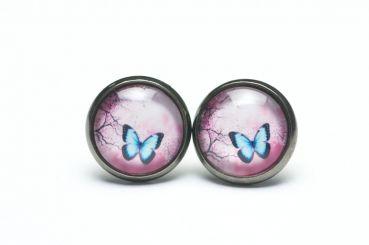 Just Trisha - Ohrstecker/Creolen blauer Schmetterling