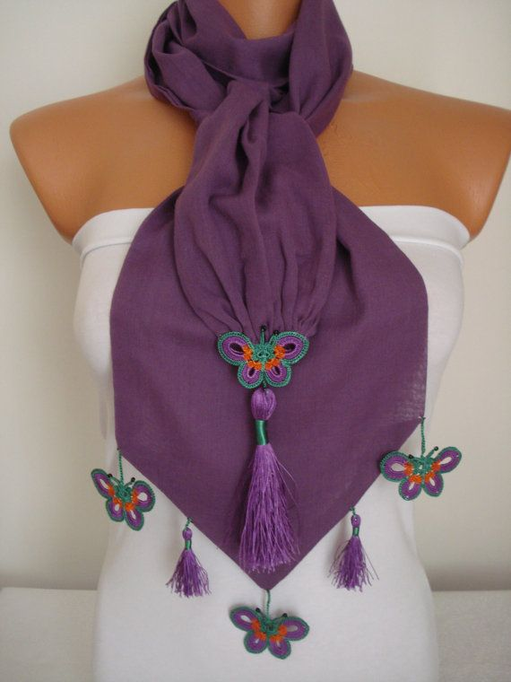 Butterfly Scarf-Anatolian Oya Scarf Hand Crocheted Lace Scarf