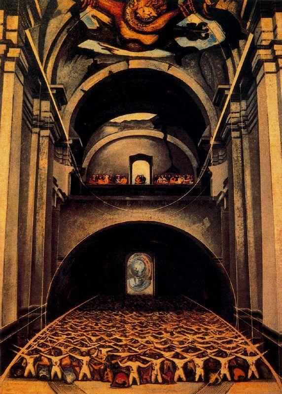 The Devil in Church by David Alfaro Siqueiros, 1947. Enamel on panel, 218 x 156 cm. Museo de Arte Moderno, Mexico City, Mexico.