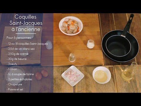 Recette - Coquilles Saint Jacques à l'ancienne - ELLE Cuisine - YouTube
