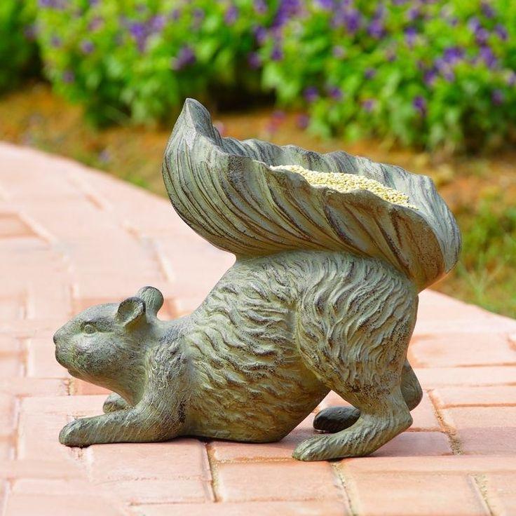 Bushy Tailed Squirrel Bird Feeder Metal Garden Sculpture Statue Seed Feeder #Unbranded