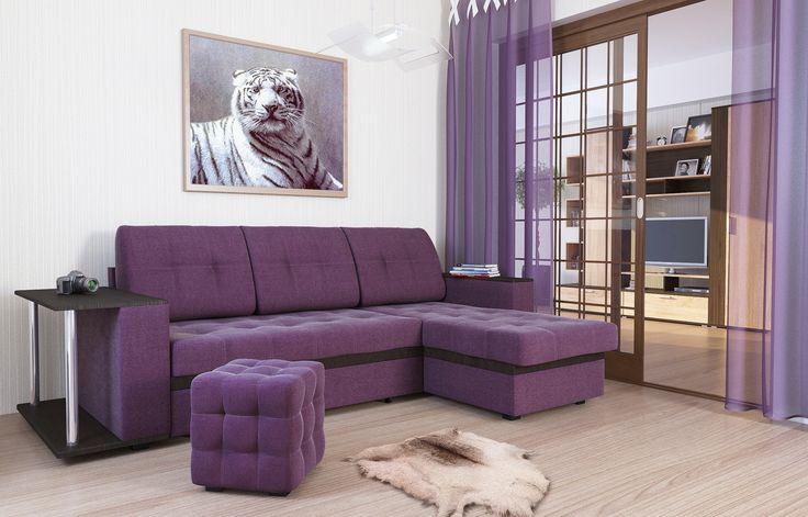 """Диван-кровать угловой АТЛАНТА, ткань Shaggy Lilac (сиреневый) Недорогой, красивый, стильный, компактный, вместительный диван с  деревянными подлокотниками и ящиком для белья, механизм """"«дельфин»"""", прекрасное решение для гостиных комнат. Модель обладает высочайшим комфортом посадки и спального места при компактных размерах в разложенном варианте. В положении """"кровать"""", диван имеет заднюю планку, которая отделяет спальное место от стены."""