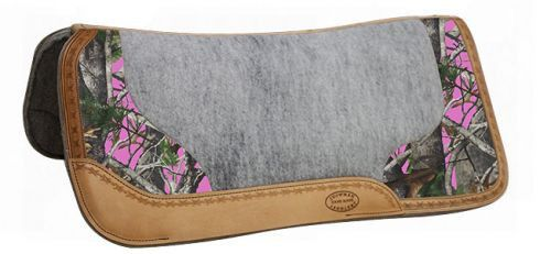 "Rugged, Camo Accented Saddle Pads - Just the right amount of camo! Showman ® 32"" x 31"" Real Oak Camo contoured felt bottom saddle pad with filigree print and Argentina cow leather trim. This pad featu"