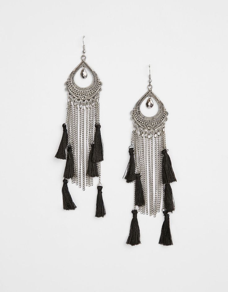 Long earrings with chains and tassels - Accessories - Bershka United Kingdom