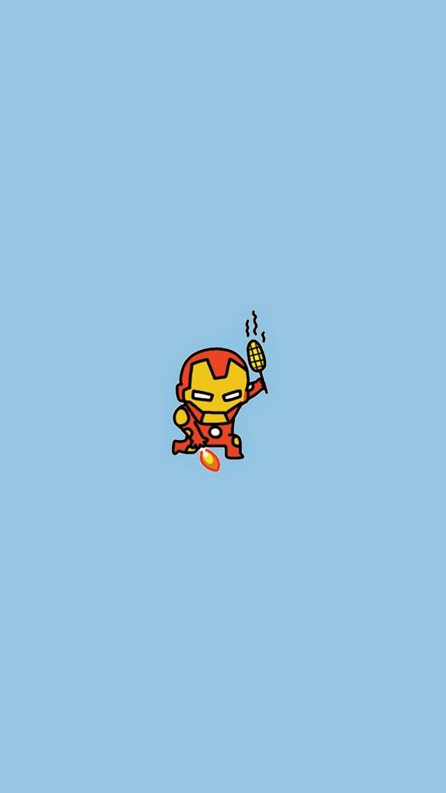 Iron Man: Do not disturb while I'm having my BBQ Corn. Tap to see all Cute Avengers: Age of Ultron Doodle iPhone Wallpapers - movie avengers marvel superheroes - @mobile9