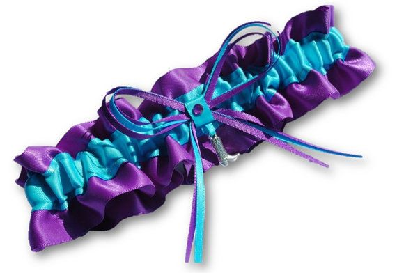 Wedding Garter SINGLE or SET, beautiful Personalized purple and turquoise blue satin  with cowboy boot