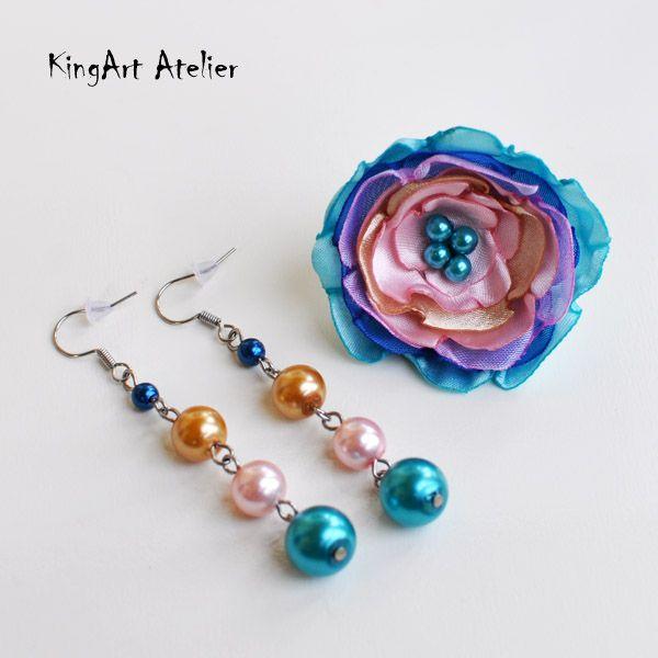 Fun earring & flower ring handmade set by KingArt Atelier
