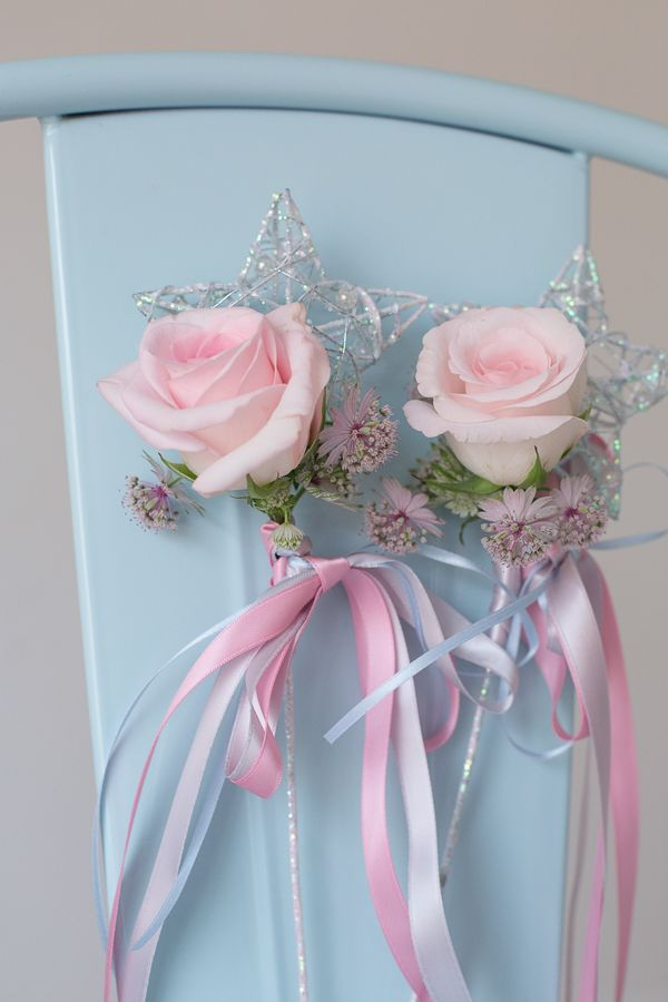 Flower Girl Star Wand with Pink Rose and Ribbons