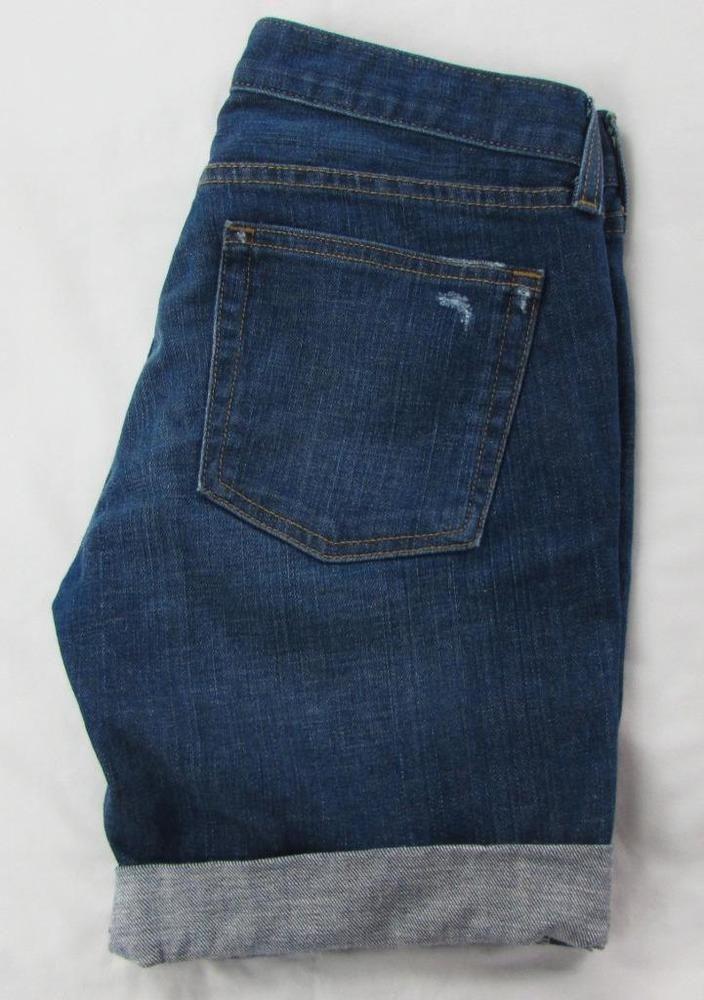 Women J Crew Rolled Cuff Jean Denim Shorts Cotton Blend Whisking Dark Wash sz 27 #JCrew #BermudaWalking
