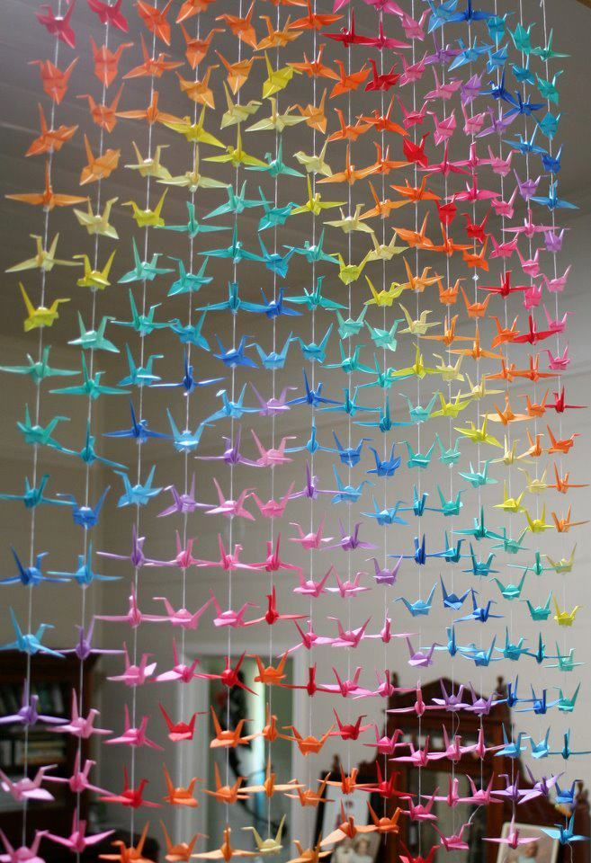 cortina tsuru grou origami decoraçao