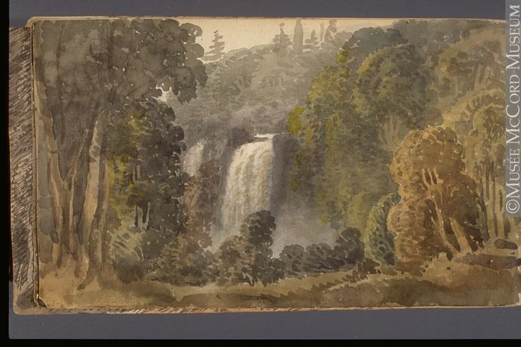 Original title:  Painting View of the Falls of Montmorency George Heriot 1816, 19th century Watercolour and graphite on paper 11.4 x 19.3 cm Gift of Mrs. J. C. A. Heriot M928.92.1.101 © McCord Museum Keywords: Painting(2229) , painting(2226) , waterfall(388) , Waterscape(2986)