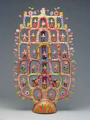 'Tree of Life' .Francisco Flores, Izœcar de Matamoros, Puebla, Mexico. 1999. Candelabra. Terra-cotta, wire, acrylic paint over white slip. The Laura and Dan Boeckman Collection