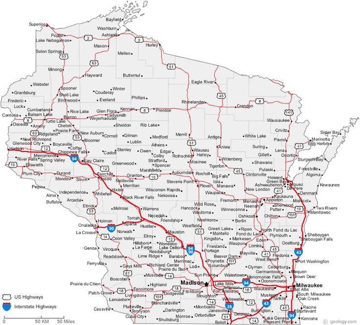 (*/*2 Brds) map of Wisconsin cities